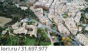 Купить «Aerial view of typical town of Basque Country. Estella-Lizarra. Spain», видеоролик № 31697977, снято 20 декабря 2018 г. (c) Яков Филимонов / Фотобанк Лори