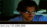 Купить «Businessman working on computer in office 4k», видеоролик № 31698089, снято 5 сентября 2018 г. (c) Wavebreak Media / Фотобанк Лори