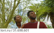 Купить «Couple interacting with each other while walking in the park 4k», видеоролик № 31698601, снято 8 сентября 2018 г. (c) Wavebreak Media / Фотобанк Лори