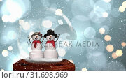 Купить «Cute Christmas animation of snowman couple in snow globe 4k», видеоролик № 31698969, снято 26 октября 2018 г. (c) Wavebreak Media / Фотобанк Лори