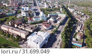 Купить «anoramic aerial view of district of Kursk with houses, Russia», видеоролик № 31699049, снято 3 мая 2019 г. (c) Яков Филимонов / Фотобанк Лори