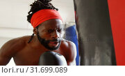 Купить «Male boxer practicing boxing in fitness studio 4k», видеоролик № 31699089, снято 6 сентября 2018 г. (c) Wavebreak Media / Фотобанк Лори