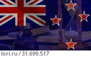 Digitally animation of England Flag, hour glass and gavel 4k. Стоковое видео, агентство Wavebreak Media / Фотобанк Лори