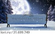 Купить «Winter scenery with full moon and falling snow», видеоролик № 31699749, снято 2 ноября 2018 г. (c) Wavebreak Media / Фотобанк Лори