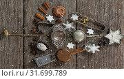 Купить «Falling snow with Christmas tree decoration», видеоролик № 31699789, снято 2 ноября 2018 г. (c) Wavebreak Media / Фотобанк Лори