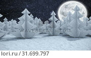 Купить «Winter scenery with full moon and falling snow», видеоролик № 31699797, снято 2 ноября 2018 г. (c) Wavebreak Media / Фотобанк Лори