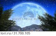 Купить «Winter scenery with full moon and falling snow», видеоролик № 31700105, снято 2 ноября 2018 г. (c) Wavebreak Media / Фотобанк Лори