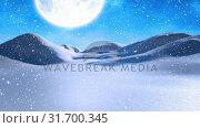 Купить «Winter scenery with full moon and falling snowfalling snow», видеоролик № 31700345, снято 2 ноября 2018 г. (c) Wavebreak Media / Фотобанк Лори