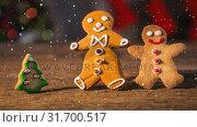 Купить «Falling snow with Christmas gingerbread decoration», видеоролик № 31700517, снято 2 ноября 2018 г. (c) Wavebreak Media / Фотобанк Лори