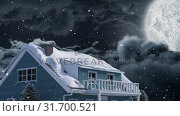 Купить «Video composition with snow over night winter scenery with  with house», видеоролик № 31700521, снято 2 ноября 2018 г. (c) Wavebreak Media / Фотобанк Лори