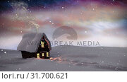 Купить «Video composition with snow over winter scenery at night», видеоролик № 31700621, снято 2 ноября 2018 г. (c) Wavebreak Media / Фотобанк Лори