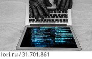 Купить «Didital animation of hackers hands on the laptop keyboard 4K», видеоролик № 31701861, снято 12 ноября 2018 г. (c) Wavebreak Media / Фотобанк Лори
