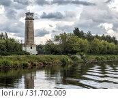 Большой Волжский маяк в ненастную погоду (2019) Стоковое фото, фотограф Сайганов Александр / Фотобанк Лори
