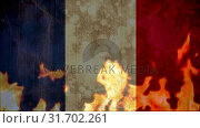 Купить «French flag being burned down by fire», видеоролик № 31702261, снято 20 ноября 2018 г. (c) Wavebreak Media / Фотобанк Лори