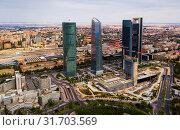 Business skyscrapers Cuatro Torres in Madrid (2019 год). Стоковое фото, фотограф Яков Филимонов / Фотобанк Лори