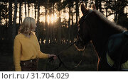 Awesome brown horse holded by young woman breathes with the steam on sunset in the wood slow motion. Стоковое видео, видеограф Denis Mishchenko / Фотобанк Лори