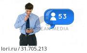 Купить «Increasing amount of friend requests 4k», видеоролик № 31705213, снято 26 марта 2019 г. (c) Wavebreak Media / Фотобанк Лори