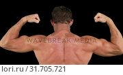 Купить «Man flexing his biceps 4k», видеоролик № 31705721, снято 25 апреля 2019 г. (c) Wavebreak Media / Фотобанк Лори