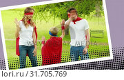 Купить «Superhero family running in the park», видеоролик № 31705769, снято 25 апреля 2019 г. (c) Wavebreak Media / Фотобанк Лори