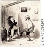 Honoré Daumier (French, 1808 - 1879), Quand on a brulé son dernier chevalet!, 1845, lithograph (2010 год). Редакционное фото, фотограф copyright Quint Lox Limited / age Fotostock / Фотобанк Лори
