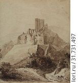 Купить «Ruins of Chateau d'Arque, 1819. Isidore Justin Taylor (French, 1789-1879). Pen and brown ink, brush and brown wash over black chalk on laid paper, sheet: 21.5 x 18.3 cm (8 7/16 x 7 3/16 in.).», фото № 31731497, снято 13 февраля 2019 г. (c) age Fotostock / Фотобанк Лори
