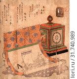 Купить «Tokei to takarabune no kakejiku, Painting of a ship of treasures and a western clock., Ryuryukyo, Shinsai, approximately 1764-1820, artist, [between 1818...», фото № 31740989, снято 26 июля 2013 г. (c) age Fotostock / Фотобанк Лори