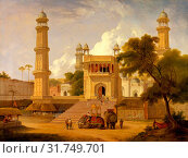 Indian Temple, Said to Be the Mosque of Abo-ul-Nabi, Muttra A View of an Indian Temple said to be the Mosque of Abo-ul-Nabi, Muttra Signed and dated, lower... (2014 год). Редакционное фото, фотограф Artokoloro / age Fotostock / Фотобанк Лори