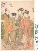 Купить «A Group of Three Women Accompanied by a Manservant, Edo period (1615–1868), 1780–1795, Japan, Polychrome woodblock print, ink and color on paper, 14...», фото № 31756021, снято 8 мая 2017 г. (c) age Fotostock / Фотобанк Лори