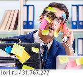 Купить «Businessman with reminder notes in multitasking concept», фото № 31767277, снято 26 сентября 2017 г. (c) Elnur / Фотобанк Лори