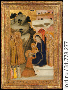 The Adoration of the Magi, ca. 1340–43, Italian, Naples, Tempera on wood, gold ground, Overall, with engaged frame, 26 1/8 x 18 3/8 in. (66.4 x 46.7... (2017 год). Редакционное фото, фотограф © Copyright Artokoloro Quint Lox Limited / age Fotostock / Фотобанк Лори