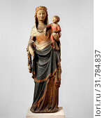 Virgin and Child, ca. 1340–50, Made in probably Paris, ÃŽle-de-France, France, French, Limestone, paint, gilt, glass, 68 × 22 13/16 × 11 1/4 in. (172... (2017 год). Редакционное фото, фотограф © Copyright Artokoloro Quint Lox Limited / age Fotostock / Фотобанк Лори