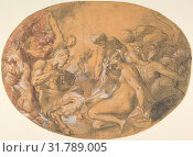 Купить «Satyrs and Nymphs, ca. 1599, Pen and black ink, brush and black washes, red chalk, heightened with white bodycolor, black chalk underdrawing, Sheet: 9...», фото № 31789005, снято 22 апреля 2017 г. (c) age Fotostock / Фотобанк Лори