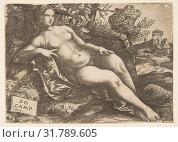 Купить «Nude woman (Venus) reclining in a landscape, 1517, Engraving, Sheet (trimmed to plate): 3 3/4 × 5 5/16 in. (9.5 × 13.5 cm), Prints, Domenico Campagnola...», фото № 31789605, снято 22 апреля 2017 г. (c) age Fotostock / Фотобанк Лори
