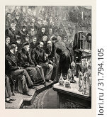 Купить «THE PRINCE OF WALES AND THE DUKE OF YORK AT THE ROYAL INSTITUTION: PROFESSOR DEWAR LECTURING ON LIQUID AIR, UK, 1893 engraving», фото № 31794105, снято 11 апреля 2012 г. (c) age Fotostock / Фотобанк Лори