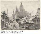 View of the Nieuwmarkt in Amsterdam, The Netherlands, Lambertus Hardenberg 1822-1900, 1849 (2015 год). Редакционное фото, фотограф Artokoloro / age Fotostock / Фотобанк Лори
