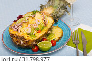 Купить «Plate with stuffed pineapple», фото № 31798977, снято 21 января 2020 г. (c) Яков Филимонов / Фотобанк Лори