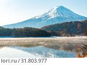 Mt. Fuji wit snow in late autumn at Kawaguchiko or lake Kawaguchi in Fujikawaguchiko Japan. Стоковое фото, фотограф Zoonar.com/Vichaya Kiatying-Angsulee / easy Fotostock / Фотобанк Лори