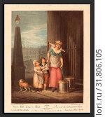 Luigi Schiavonetti after Francis Wheatley (Italian, 1765 - 1810), Milk below Maids, 1793, color stipple engraving (2010 год). Редакционное фото, фотограф Artokoloro / age Fotostock / Фотобанк Лори