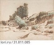 Landscape, Vichy, ca. 1866–67, Pen and brown ink over graphite. Blue, black and green chalk on laid paper (watermark: bunch of grapes), Overall: 8 9... (2017 год). Редакционное фото, фотограф © Copyright Artokoloro Quint Lox Limited / age Fotostock / Фотобанк Лори