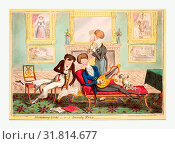 Купить «Humming birds or a dandy trio, Cruikshank, George, 1792-1878, artist, London, 1819, three fashionable dandies singing and playing instruments in a well-furnished room.», фото № 31814677, снято 11 июля 2013 г. (c) age Fotostock / Фотобанк Лори