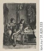Goetz von Berlichingen Writing His Memoirs, 1836–43, Lithograph, second state of four, Image: 10 7/16 x 7 9/16 in. (26.5 x 19.2 cm), Prints, Eugène... (2017 год). Редакционное фото, фотограф © Copyright Artokoloro Quint Lox Limited / age Fotostock / Фотобанк Лори