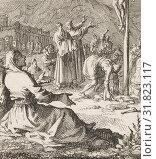 Christ on the cross, Jan Luyken, Dutch, 1649 - 1712, Jan Huygen, Jacobus van Hardenberg (2014 год). Редакционное фото, фотограф Artokoloro / age Fotostock / Фотобанк Лори
