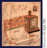 Купить «Tokei to takarabune no kakejiku, Painting of a ship of treasures and a western clock., Ryuryukyo, Shinsai, approximately 1764-1820, artist, [between 1818...», фото № 31824789, снято 26 июля 2013 г. (c) age Fotostock / Фотобанк Лори