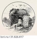 JOHN OF GAUNT'S GATEWAY, TUTBURY CASTLE. A largely ruinous medieval castle at Tutbury, Staffordshire, England, in the ownership of the Duchy of Lancaster... (2013 год). Редакционное фото, фотограф Artokoloro / age Fotostock / Фотобанк Лори