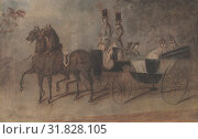 Women in a Carriage, 19th century, Pen and brown ink, brown, gray and black wash, 8 1/4 x 13 1/8 in. (20.9 x 33.3 cm), Drawings, Constantin Guys (French, Flushing 1802–1892 Paris) (2017 год). Редакционное фото, фотограф © Copyright Artokoloro Quint Lox Limited / age Fotostock / Фотобанк Лори