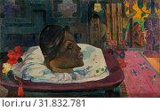 Купить «Arii Matamoe (The Royal End), Paul Gauguin, French, 1848 - 1903, Tahiti, Oceania, 1892, Oil on coarse fabric, Unframed: 45.1 x 74.3 cm (17 3/4 x 29 1/4...», фото № 31832781, снято 3 октября 2013 г. (c) age Fotostock / Фотобанк Лори