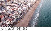 Купить «Picturesque view of Calafell cityscape with famous sand beach on Mediterranean, Spain», видеоролик № 31841885, снято 10 марта 2019 г. (c) Яков Филимонов / Фотобанк Лори