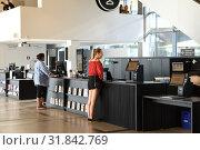 Купить «Helsinki Central Library Oodi. Range of services and facilities are available to residents seven days week. Хельсинки, Финляндия», фото № 31842769, снято 30 июня 2019 г. (c) Валерия Попова / Фотобанк Лори