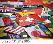 Many credit cards of a different countries. Opening a bank account in any country of the world. Стоковое фото, фотограф Maksym Yemelyanov / Фотобанк Лори