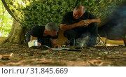 Купить «Two men looking at map in boot camp 4k», видеоролик № 31845669, снято 5 июля 2018 г. (c) Wavebreak Media / Фотобанк Лори